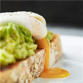 Poached egg and smashed avocado